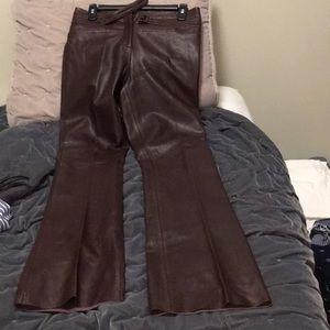 Real leather maroon pants